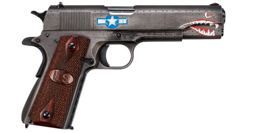 The finish on this custom 1911 from Auto Ordnance has distinctive graphics reminiscent of the P51 Mustang