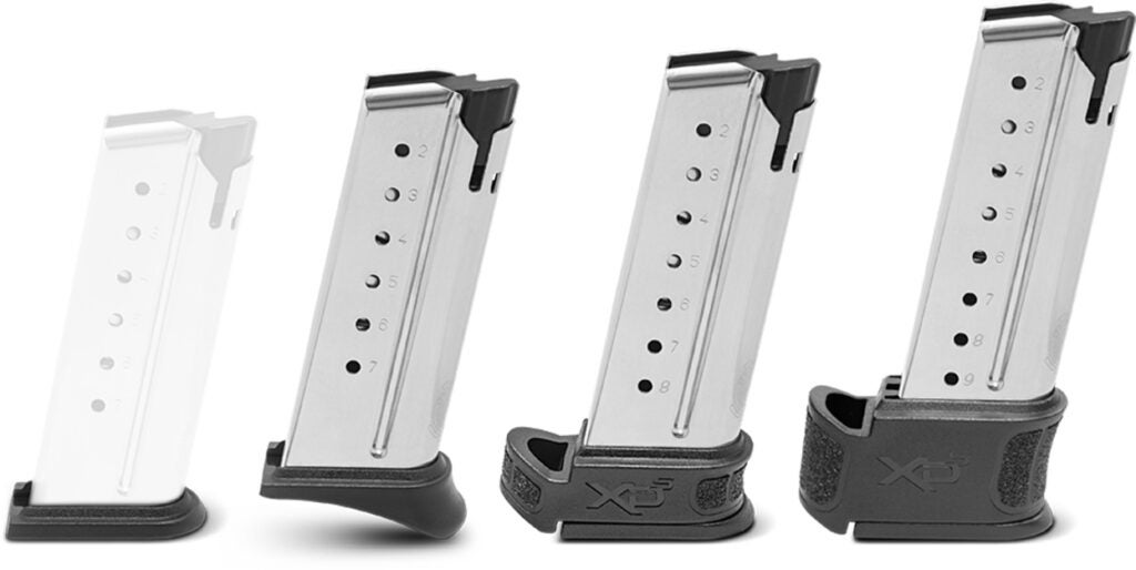 Magazines for the new pistol include a flush 7-rounder for carry, a 7-round mag with a pinky rest, an 8-rounder, and an extended 9-round magazine.