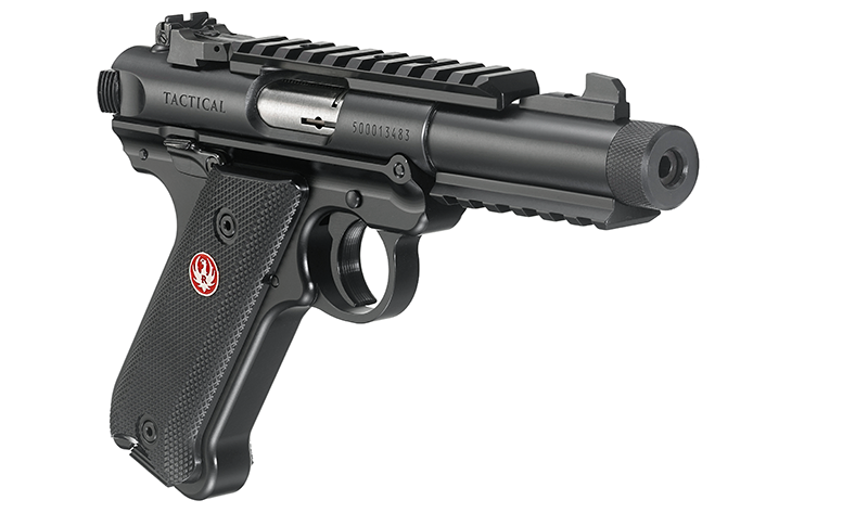 The New Ruger Mark IV Tactical features upper and lower rails plus a threaded barrel.