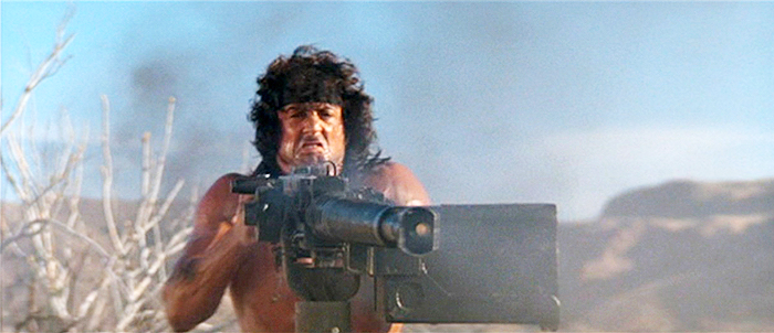 Rambo fires a Browning M2HB machine gun, mocked up to look like a Soviet gun.
