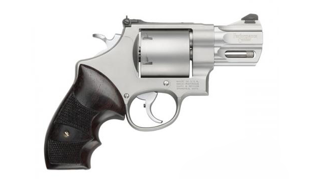A Smith & Wesson Performance Center Model 629 in .44 Magnum with a 2.6-inch barrel. As with all S&W revolvers, the