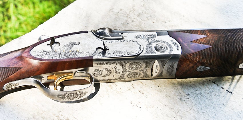 An A10 O/U shotgun from Connecticut Shotgun Manufacturing, which cost between $16,000 and $30,000.