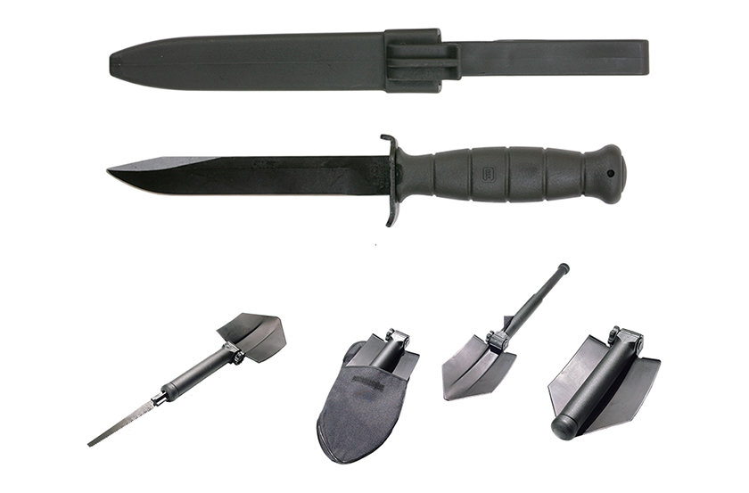 Before Glock manufactured pistols, the company manufactured products for the military including this entrenching tool and field knife.