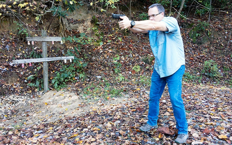 With the Isosceles, both arms form a triangle and push the handgun forward.