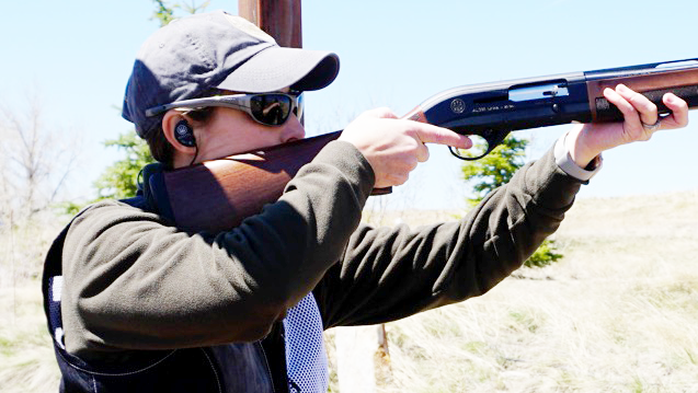 The Beretta Off Shot line of hearing protection devices are extremely lightweight and low profile. Here, a shooter wears the ST-W model.