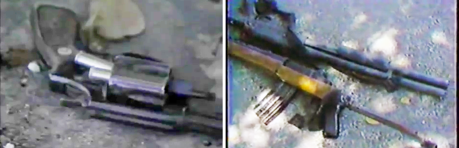 An empty police revolver on the ground in the aftermath of the 1986 Miami Shootout with the shells partially ejected from an open cylinder. (Right) the robbery suspects' long guns on the ground to the