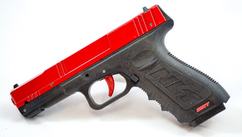 You can do effective training at home, especially with an inert training pistol like this SIRT model.