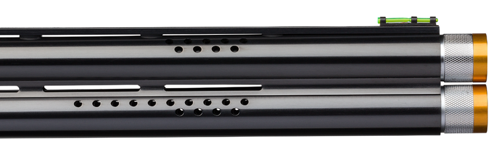 The ported barrels feature interchangeable choke tubes and a Hiviz® Pro-Comp fiber-optic sight with ivory mid-bead.