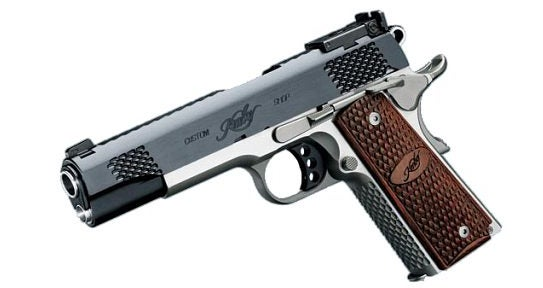 All 1911-pattern handguns, like this Grand Raptor from Kimber, are examples of single-action pistols.