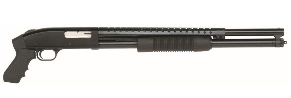 A pump action Mossberg 500 Cruiser with a pistol grip.