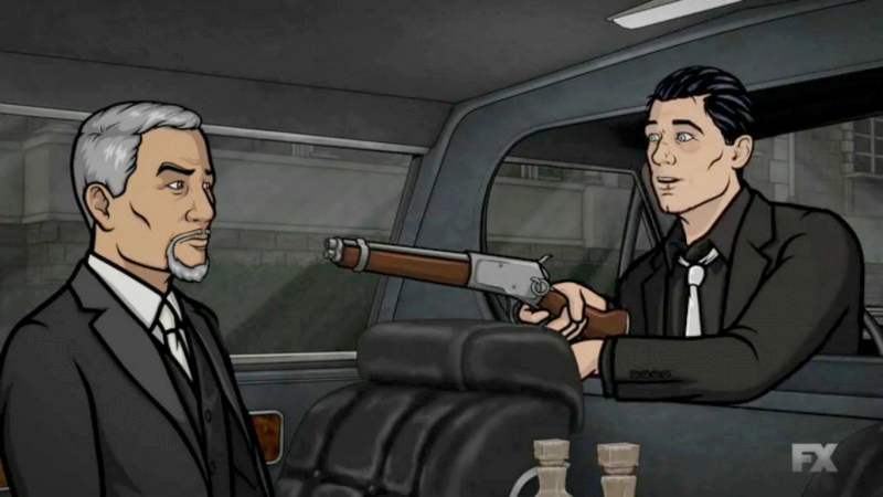 Archer's version of Steve McQueen's Mare's Leg cut-down rifle.