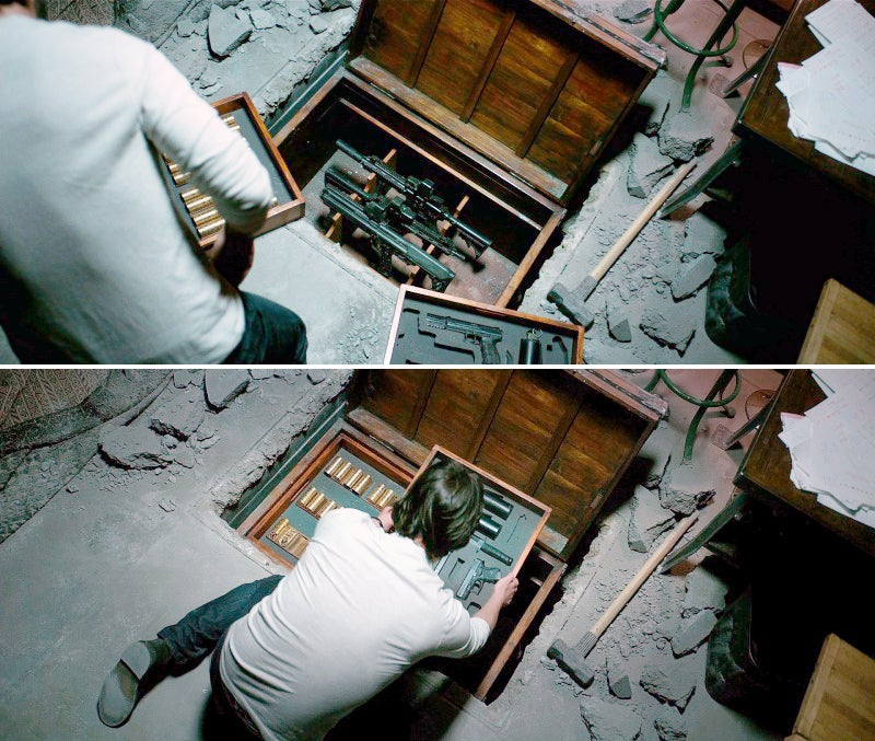 Wick puts the his guns from the first movie back in their hiding place and cements them pack into his basement floor.