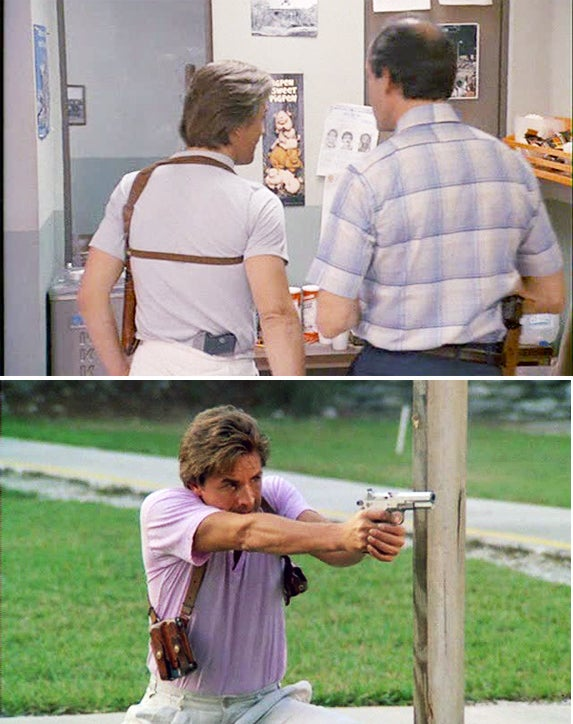 Don Johnson in the pilot episode of *Miami Vice* (top) with his original shoulder holster.