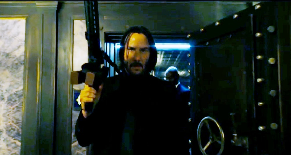 John Wick used an AR in the last movie, this time he appears to go for a pistol-caliber carbine AR.