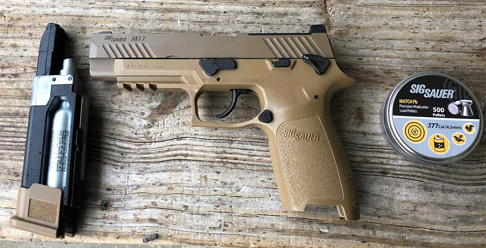Sig Air ASP pellet pistol, ammo, and cartridge