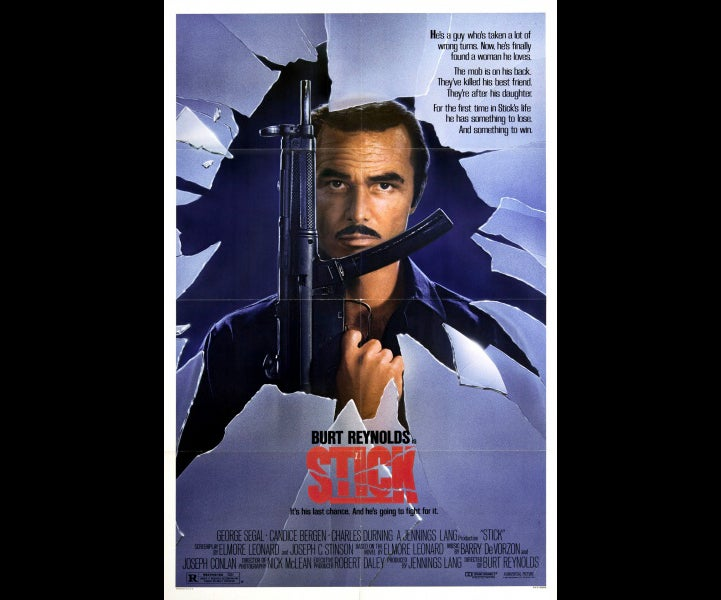 The poster for *Stick* includes the titular character holding a mocked up MP5 submachine gun.