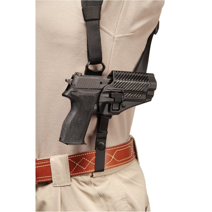 The Blackhawk! Shoulder Harness Holster Platform updates the carry method with a nylon and Kydex construction.