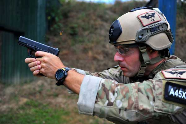 A Special Forces soldier fires a Glock 19 pistol at a range during joint training with Hungarian special operations forces. [photo from military.com](http://www.military.com/daily-news/2016/03/21/army