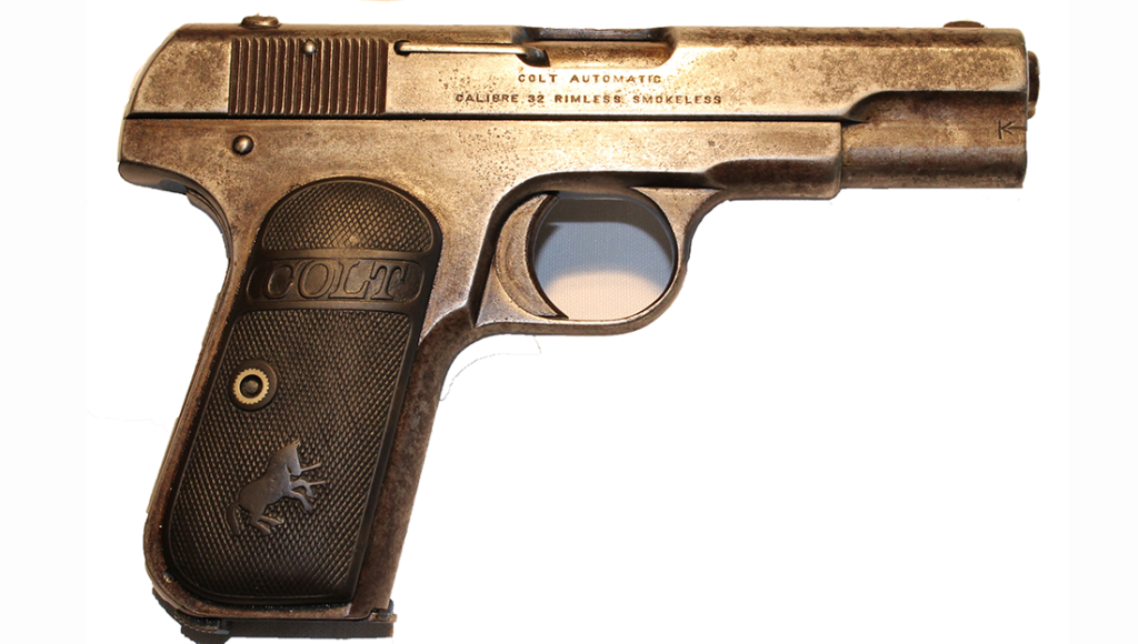 Colt Model 1908 Pocket Hammerless, Third Issue, .32 cal. automatic pistol, belonged to Clyde Barrow.
