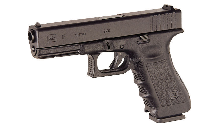 The 9mm Glock 17 is an example of a striker-fired pistol.