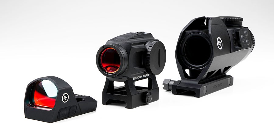 Three of the new red dot sights from Crimson Trace.