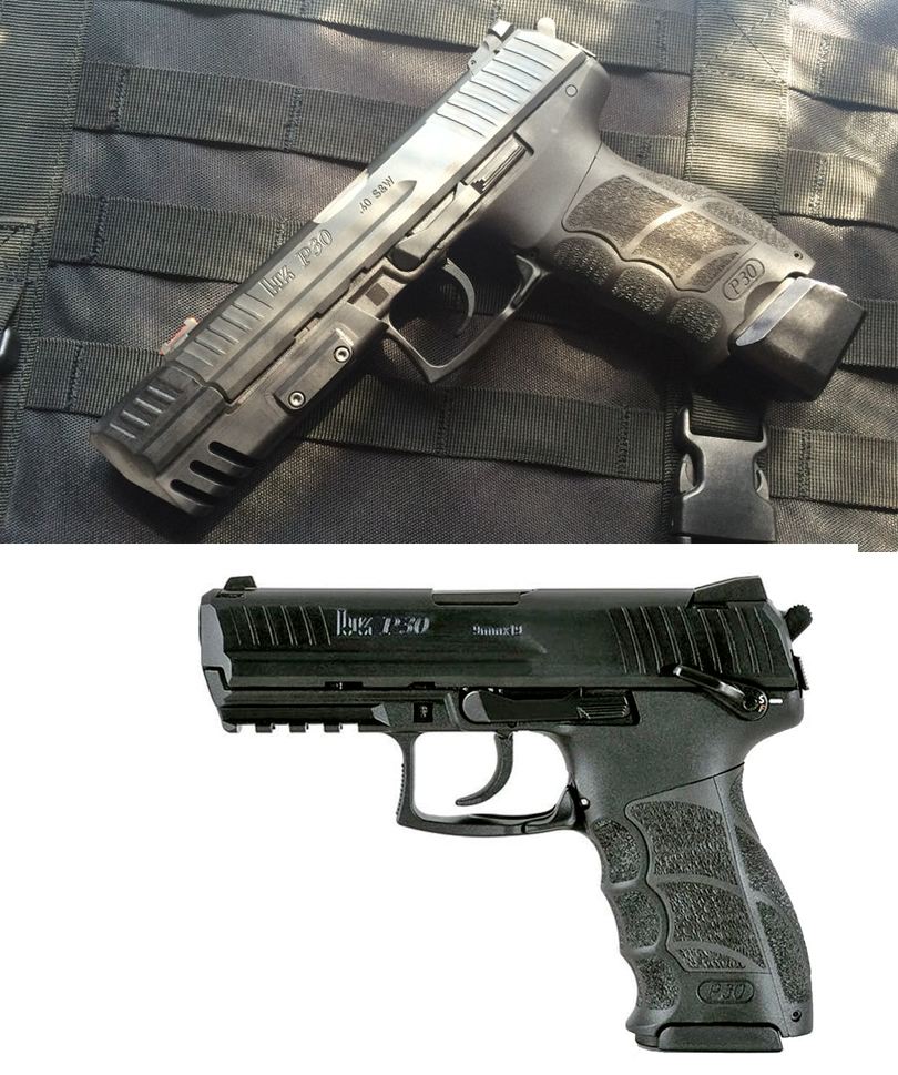 The top is an HK P30 pistol fitted with a match weight from [BrownBearGear.com](https://www.brownbeargear.com/). The weight attached via the rail section on the frame. Beneath is a factory P30 with no