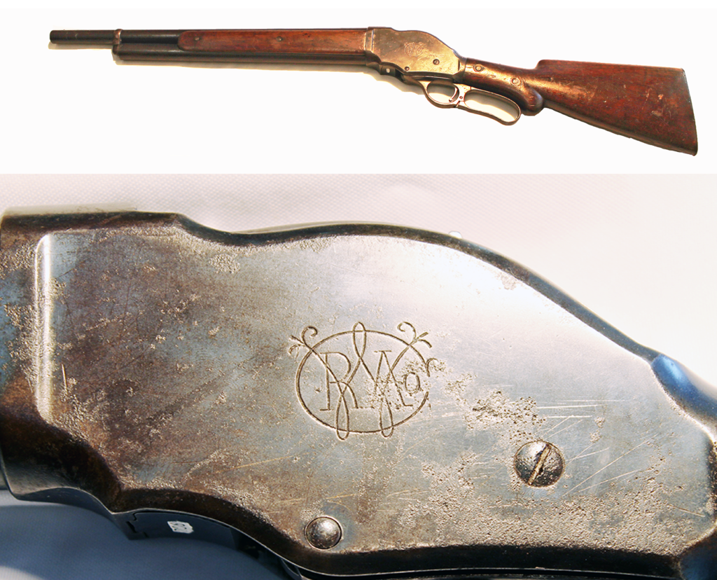 Winchester Model 1901 10-gauge lever-action with shortened barrel; owned by Clyde Barrow and recovered from death car of Bonnie & Clyde, awarded to Frank Hamer. (Gun is on loan to the Texas Ranger Hal