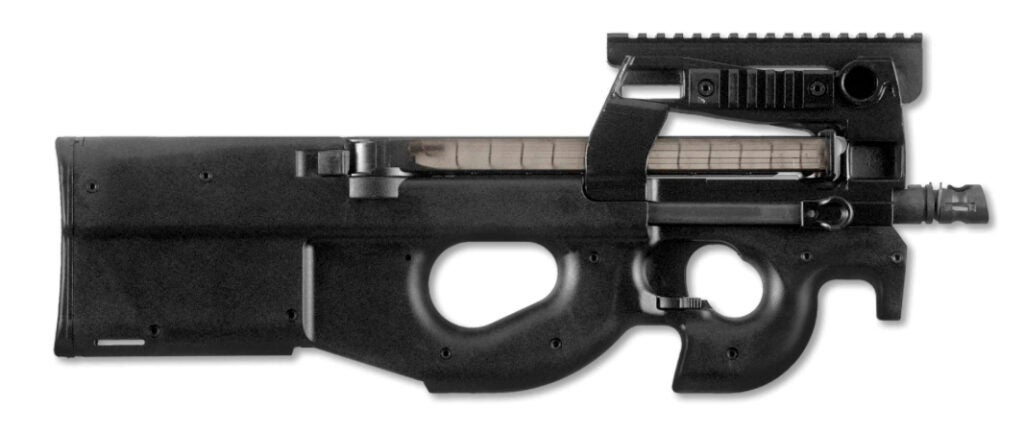 The FN P90 Personal Defense Weapon chambered in 5.7x28mm.