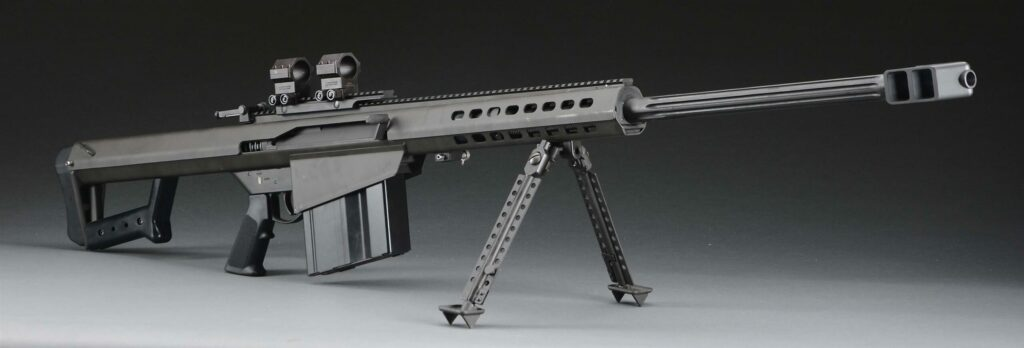 This .50 caliber Barrett M107 is being sold with a AWC Turbodyne suppressor.