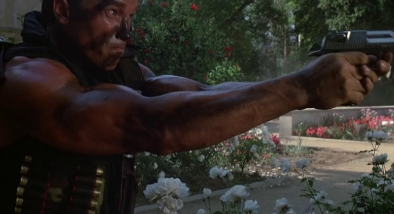 One of the Desert Eagle Mark I's first screen appearances was in the hands of Arnold Schwarzenegger in 1985's Commando.