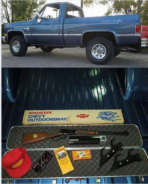 The special edition truck came with a special edition Winchester Model 94 XTR lever action rifle.