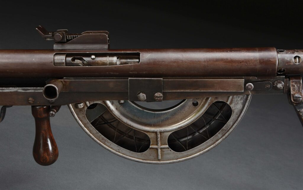 A close up of the Chauchat's half-moon magazine, which often failed to feed.
