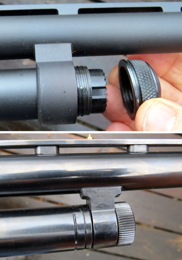 The magazine cap on the Remington 870 (top) can be removed from the gun. The author found the cap easy to unscrew. The Mossberg 500's magazine cap is integral, but the author found it difficult to gri