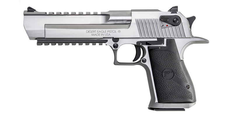 The Desert Eagle XIX is now available with a stainless steel finish in both .357 and .44 Magnum. It comes with an integrated muzzle brake, accessory rail, and scope rail.