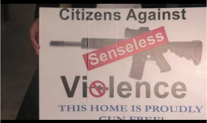 """This Home Is Proudly Gun Free!"" Sign Stunt Hits Bull's-eye"