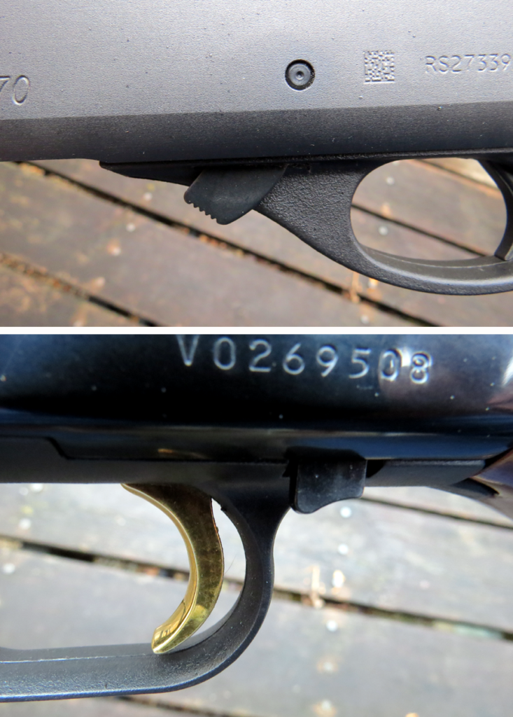 The Remington 870's slide release (top) is located on the left side at the front of the trigger guard, while the release for the Mossberg 500 is at the rear.