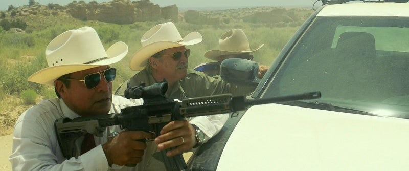 Deputy Alberto Parker  with his Colt AR during the standoff with Tanner.