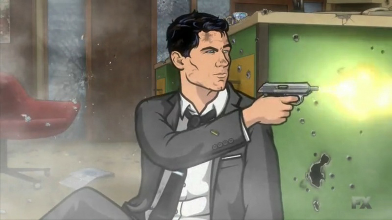 Sterling Archer firing his Walther PPK in .32 ACP.