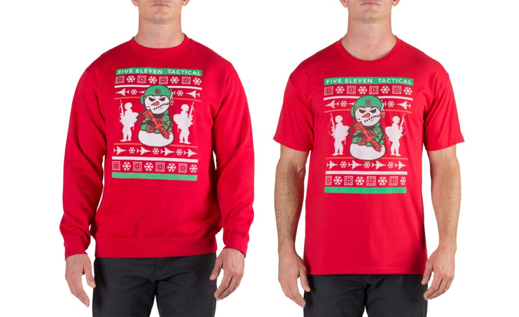 The 5.11 Tactical holiday shirt is offered as a sweatshirt and a t-shirt.