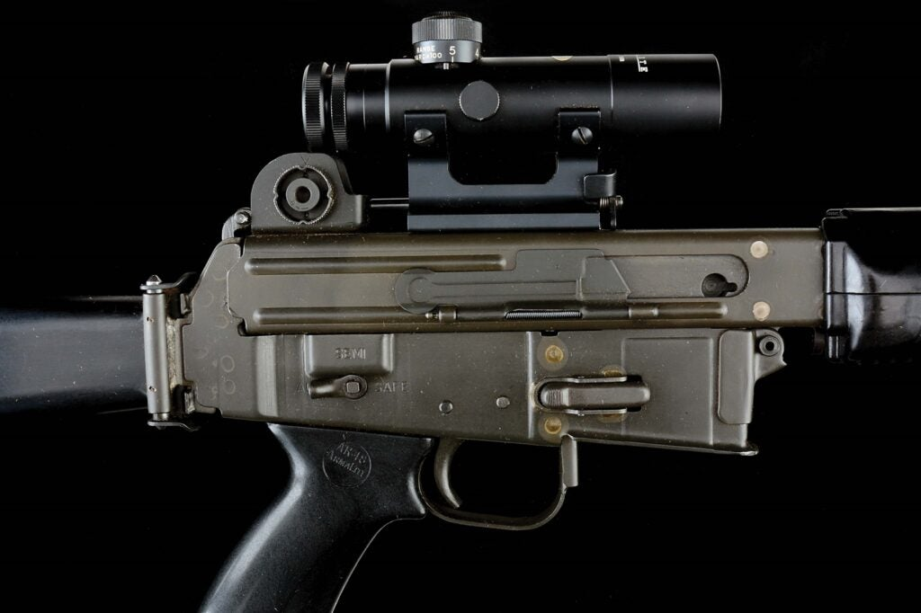The AR-18 comes with an ArmaLite 2.75x27mm scope.