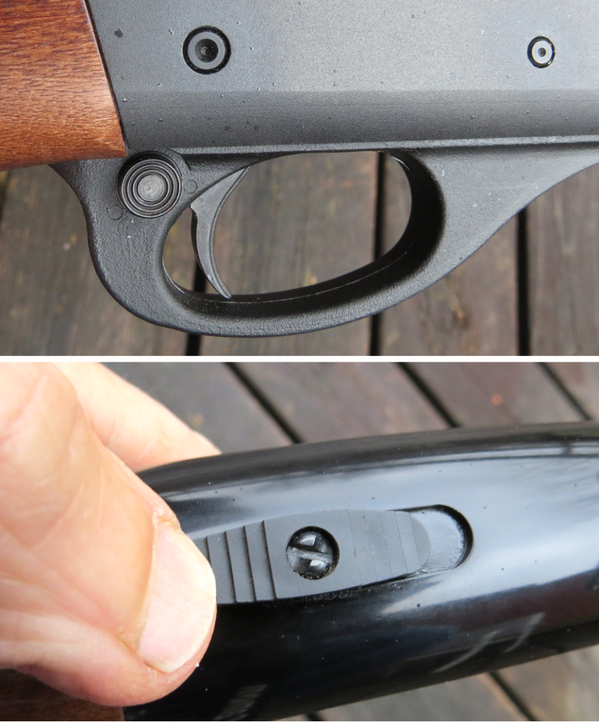 The Remington 870's safety (top) is at the rear of the trigger guard. A right-handed shooter disengages the safety by pushing it to the left with the trigger finger. A lefty has to curl the trigger fi