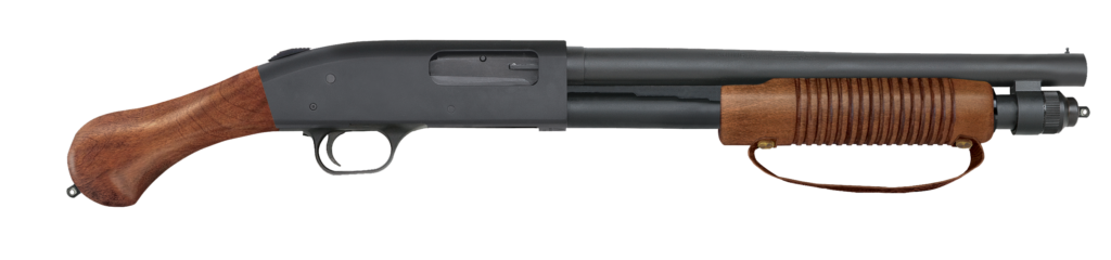 The new Mossberg 590 Nighstick is a version of the Shockwave with wooden and leather furniture.