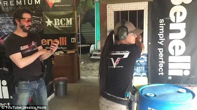 Reeves times pro shooter Jessica Hook as she makes her way through the same course.