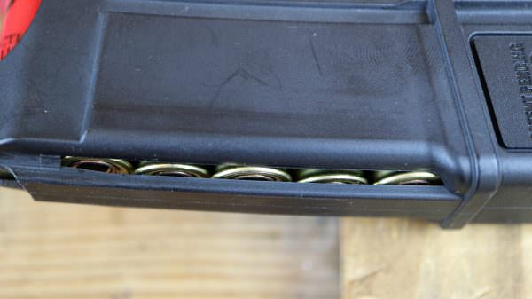 The proprietary ATI magazine has a window so you can verify the shells are loaded correctly.