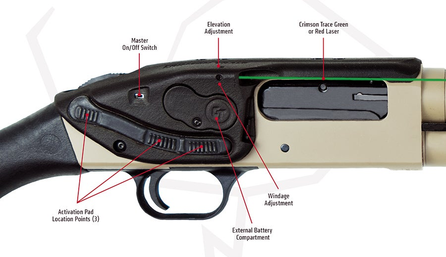The Lasersaddle has three distinct activation buttons, plus a master on/off switch.