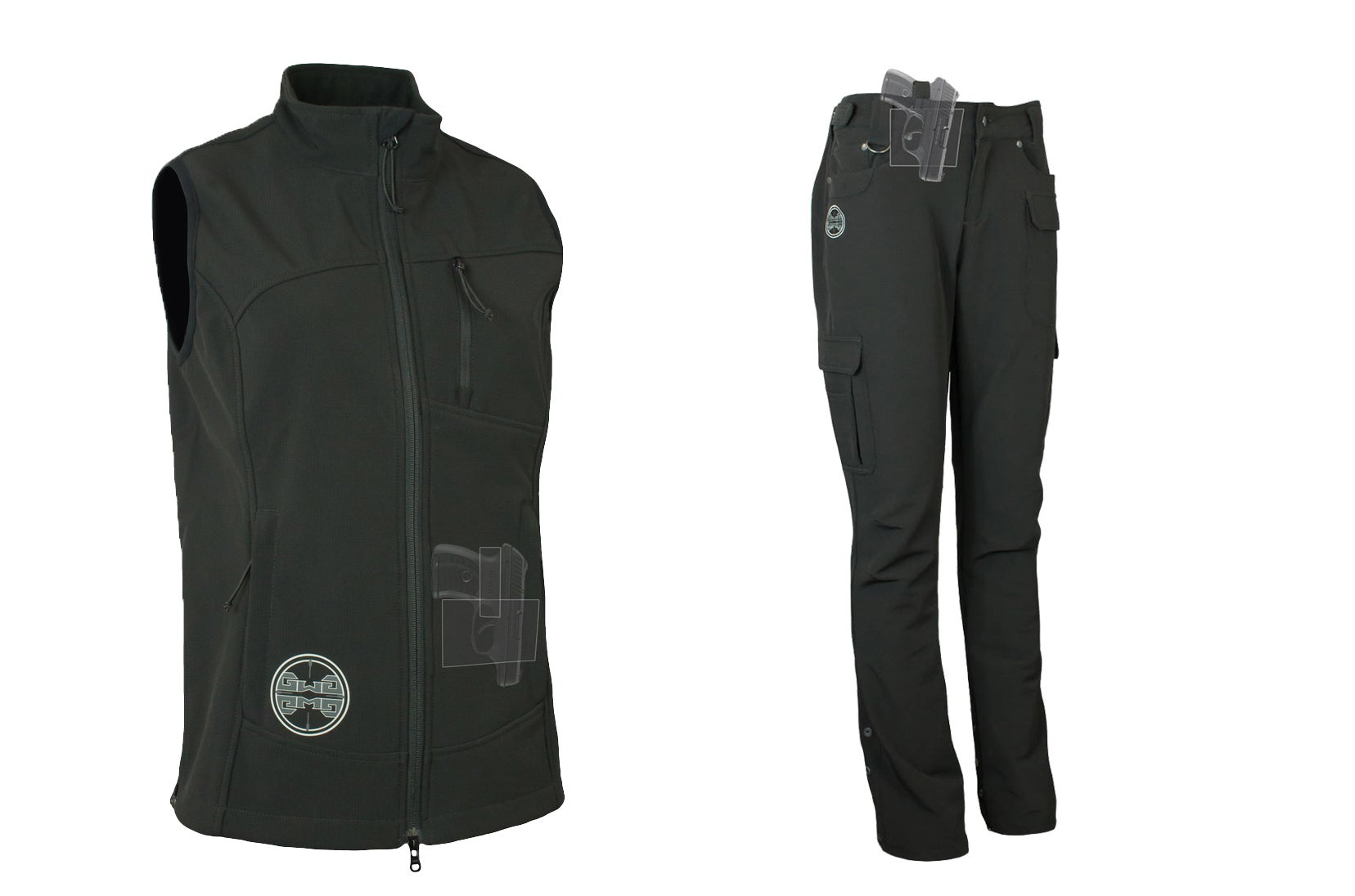 The Girls With Guns Guardian Vest and Carbine Pants are designed with women and concealed carry in mind.