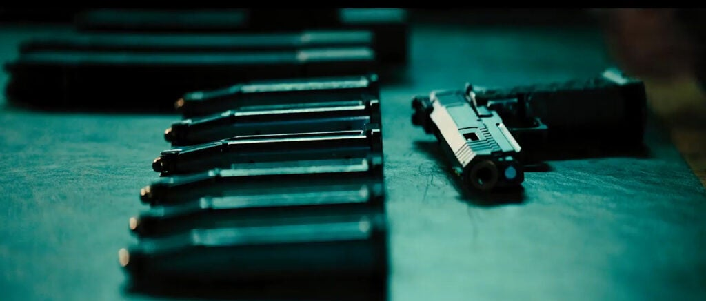 John Wick uses a customized double-stack 1911 in the trailer.