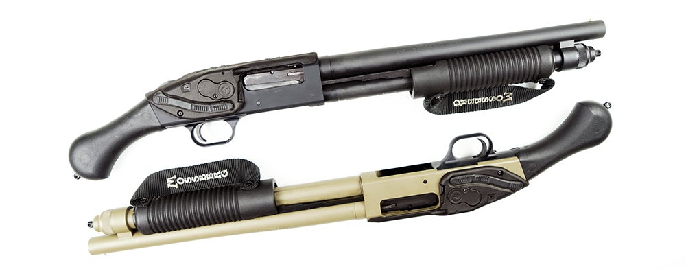 The Crimson Trace Lasersaddle can be mounted to the Mossberg Shockwave, as well as M500 or M590 shotguns.