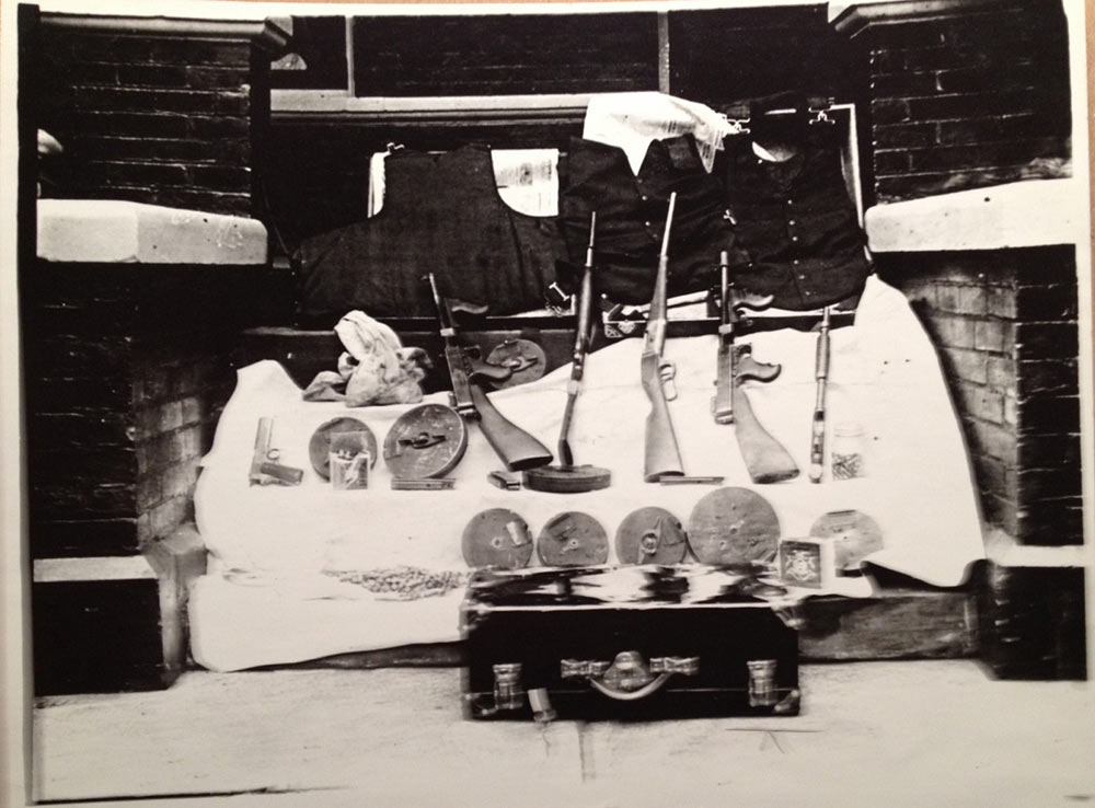 black and white photo of items taken from burkes home
