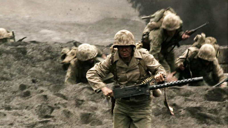 *The Pacific* focuses on the experiences of US Marines fighting in the Pacific Theater of World War II and is primarily based on the memoirs of Robert Leckie and Eugene Sledge.
